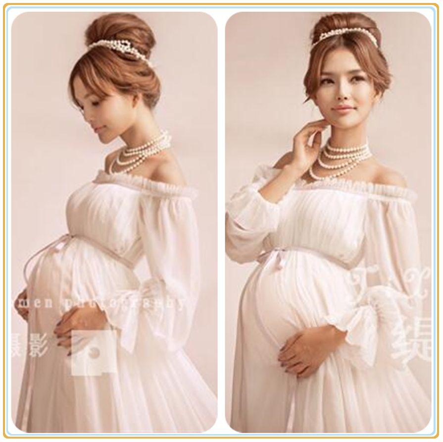 4d74c1a8a Vestido de Maternidade branco Vestido de Renda Gravidez Adereços Fotografia  Fantasia Sessão de Fotos de Maternidade Longa Camisola Vestido 2016 New  Arrival ...