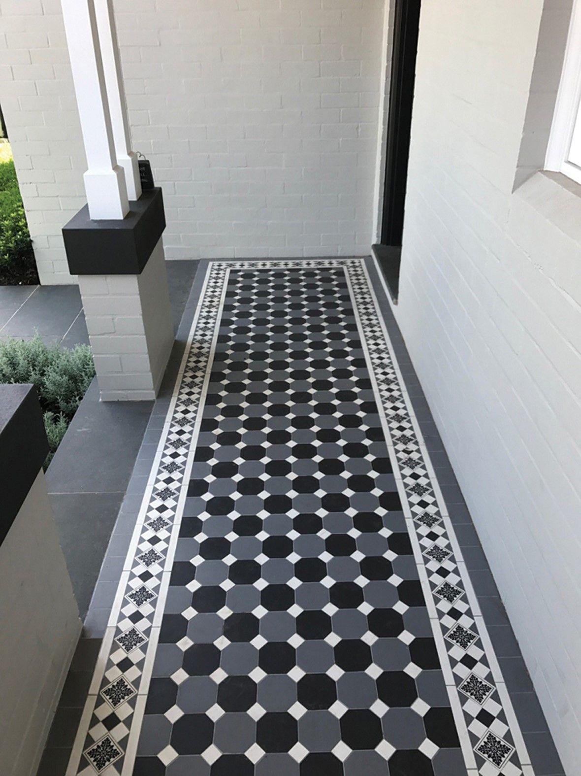 Oxley Checkerboard Pattern Dark Grey Octagon Carbon Black Octagon Grand Norwood Border Infill Minimalist Bedroom Decor Tiles Checkerboard Pattern