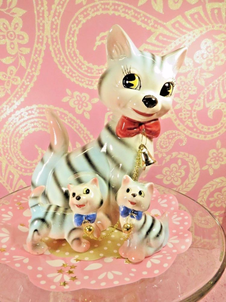 Vtg Lipper Mann Pink & Blue Striped Tabby Cat W Two