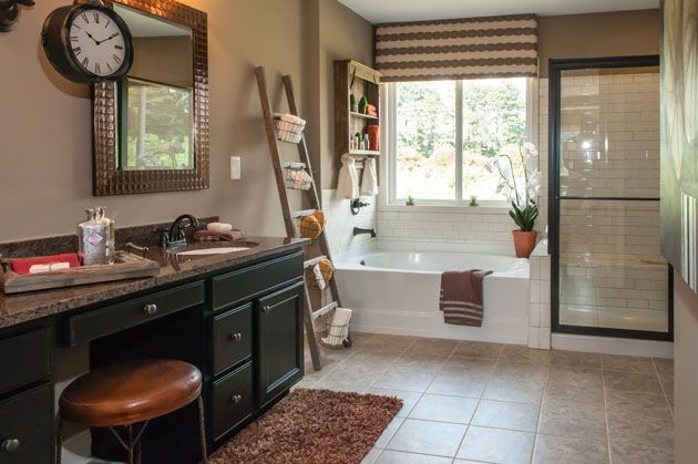 Black Cabinetry Subway Tile A Walk In Shower With Glass