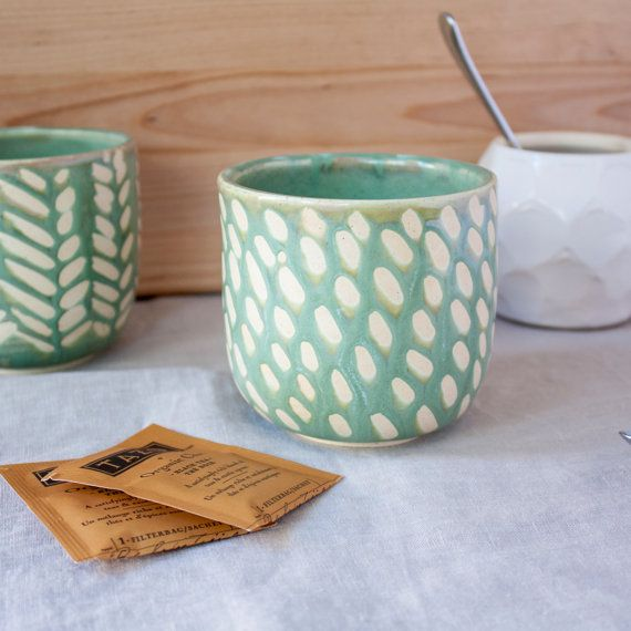 Mint Green Dot Mug by Barombi Studios by BarombiStudios on Etsy