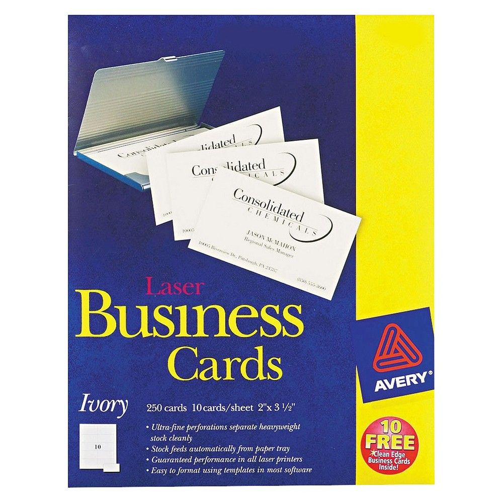 Avery 2 x 3-1/2 Two-Side Printable Business Cards, Laser - Ivory ...
