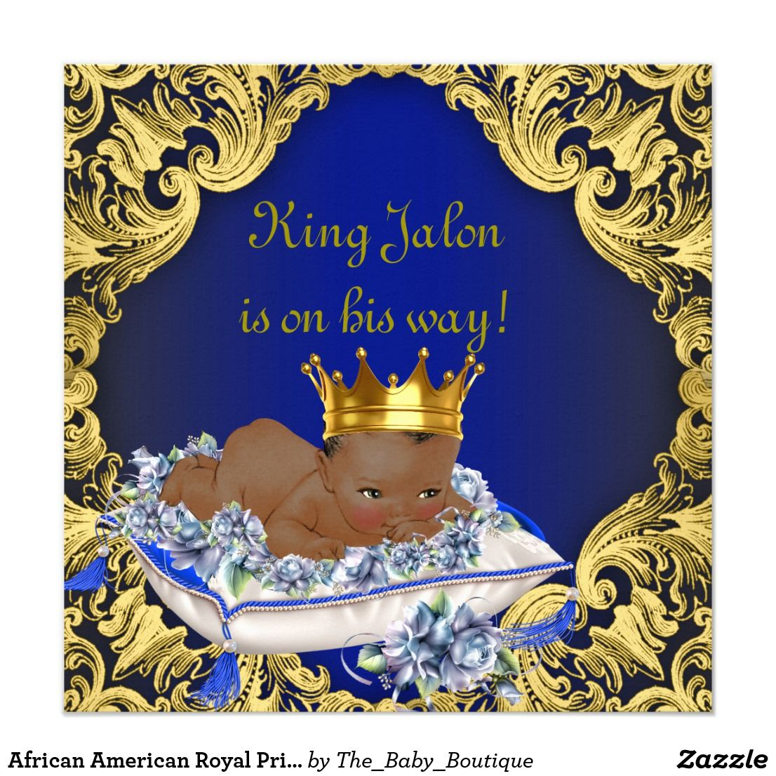 African American Royal Prince Baby Shower Card | Royal prince