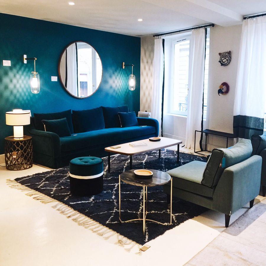 Mes inspirations parisiennes d coration salon bleu Deco salon gris et bleu