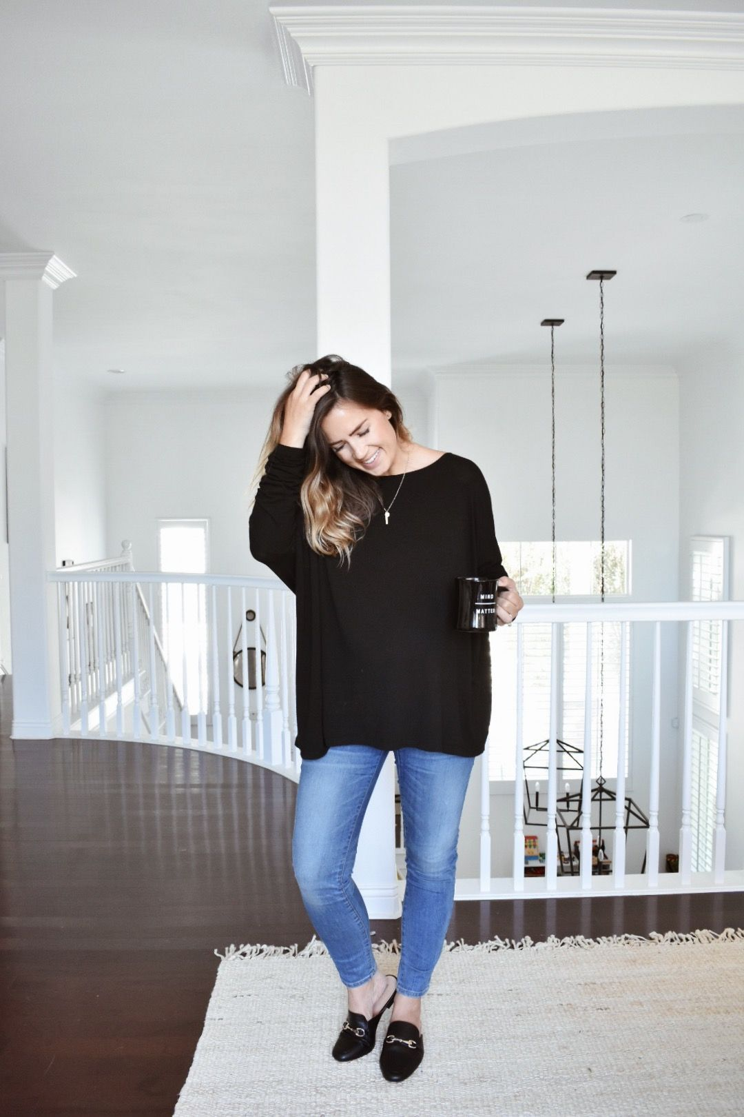e0562756e4 Hatch Collection top   Madewell maternity jeans   Merona mule loafers    Natalie Borton necklace