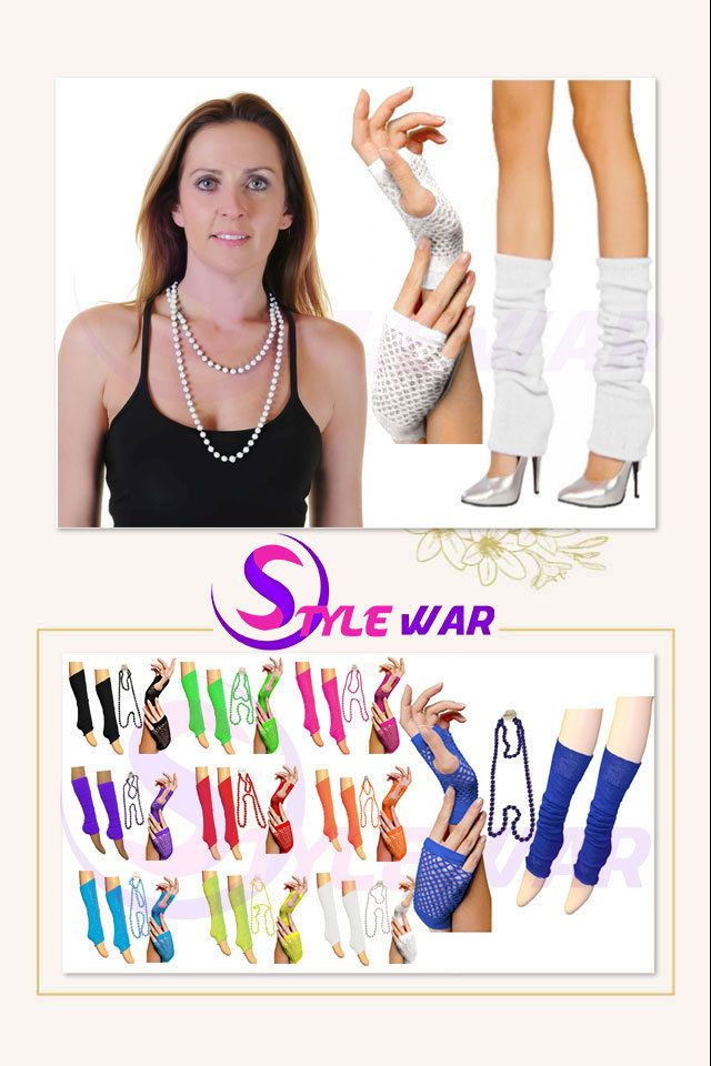 New Ladies 190\'s NEON LEG WARMERS NECKLACE & GLOVES Tutu 80\'s FANCY ...