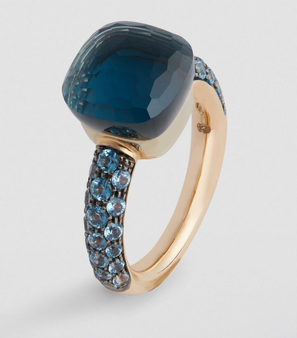 Pomellato Nudo Maxi Ring With Faceted Blue Topaz And