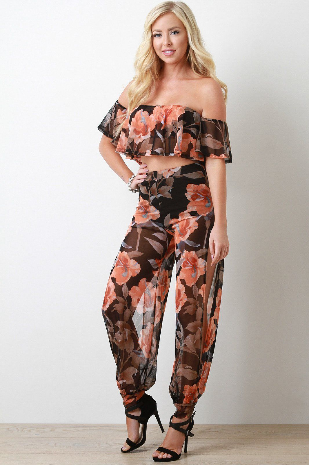 4bda88fc7a This two piece matching set features a semi-sheer floral print mesh, ruffled  off the shoulder crop top, high waisted brief underlay pants ...