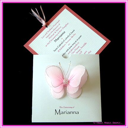 DIY Christening Invitation Pink Pearled Butterfly Sleeve