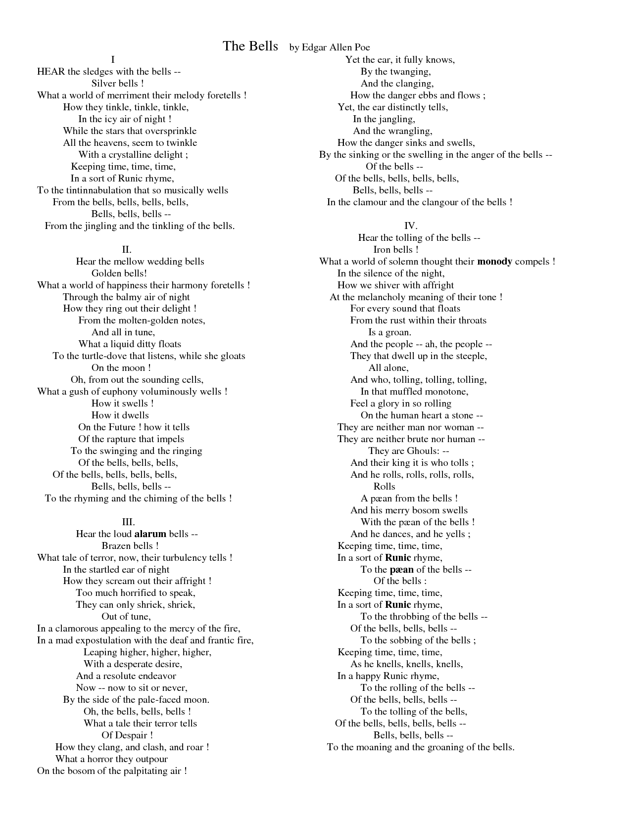 The Bells by Edgar Allen Poe - Props for the use of the word ...