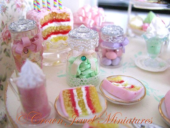 1:12 Mint Candy Hearts in A Fancy Jar by by CrownJewelMiniatures