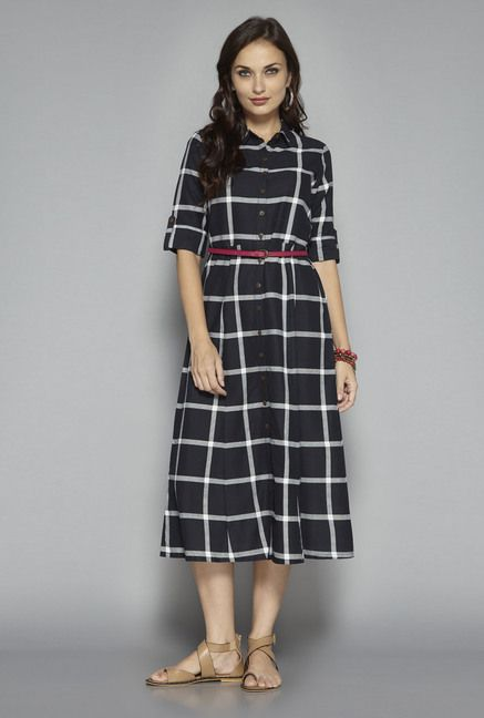 34b9dae98f2ce Bombay Paisley by Westside Black Checks Dress