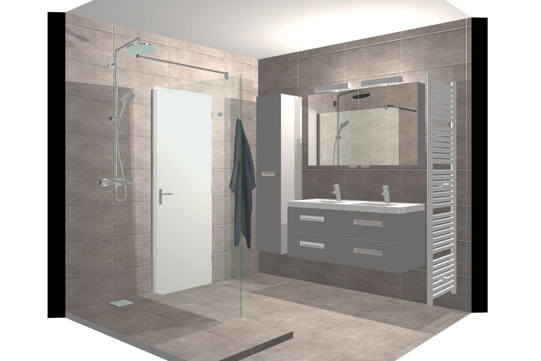 Ideeen Badkamer Renovatie : Badkamerrenovatie met betonlooktegels dagmar buysse 3d ontwerpen