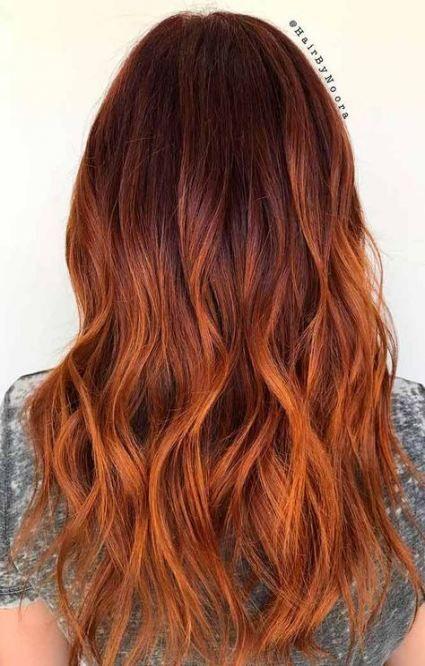 24+ Ideas Hair Color Orange Highlights Dark Brown #hair ...