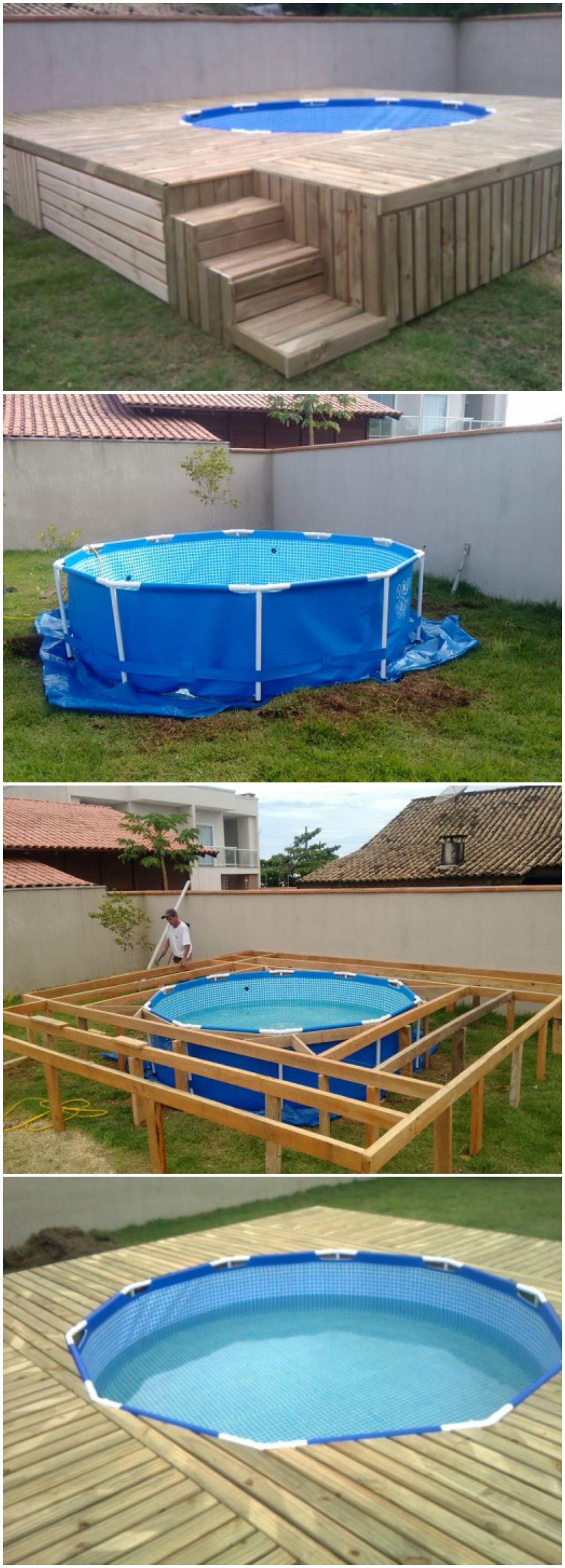 Budget Friendly Swimming Pool Deck Avec Images Amenagement Piscine Hors Sol