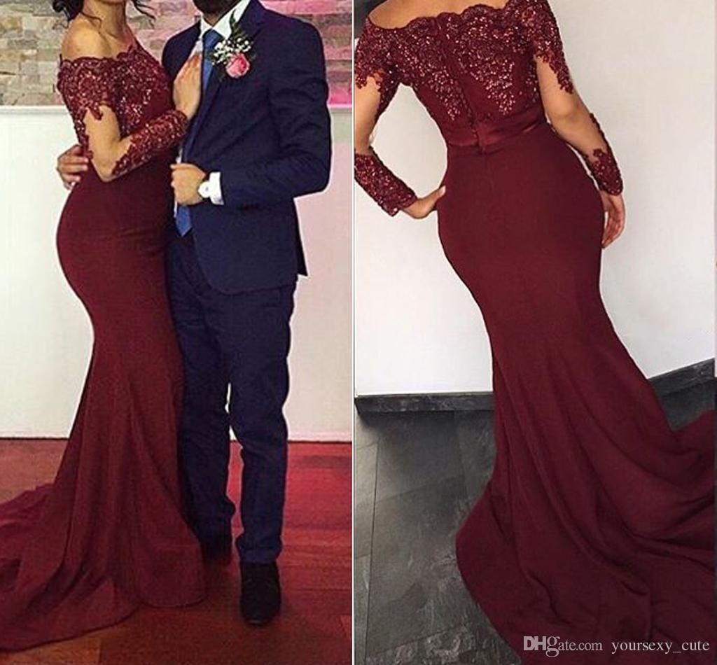 233a6ad8624 Groom Dress · Burgundy Red Mermaid Evening Dresses 2017 Bateau Neck Long  Sleeves Sequins Appliques Satin Cheap Prom Dresses