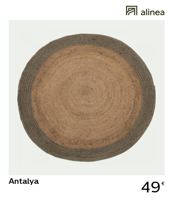 Alinea Decoration Antalya Tapis En Jute Rond 120 Cm Vert Olivier Tapis Jute Rond Tapis Jute Tapis