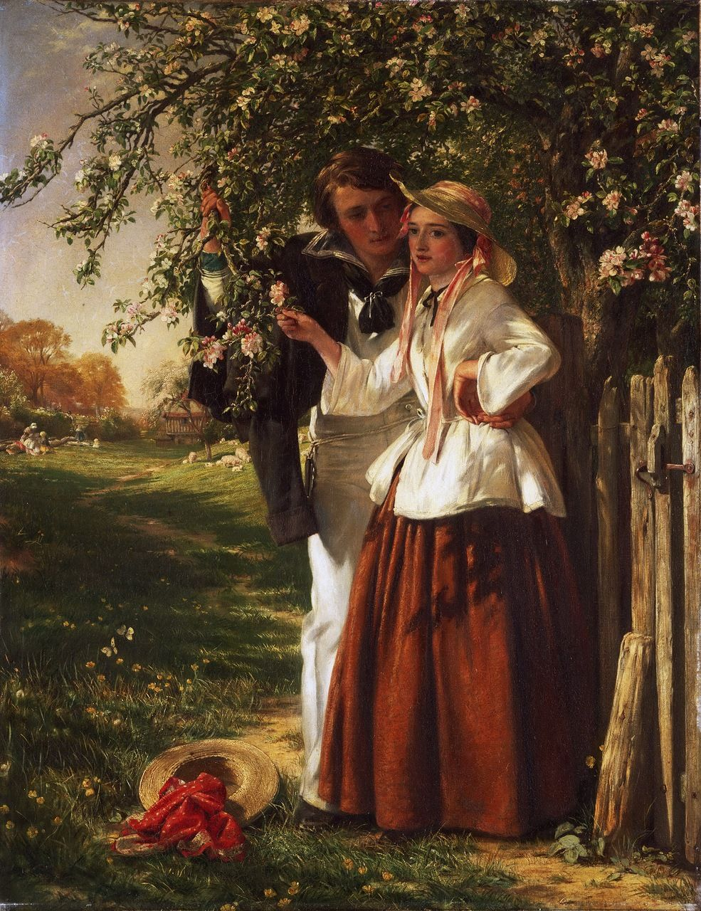.:. John Callcott Horsley, English, 1817-1903 -- Lovers under a Blossom Tree