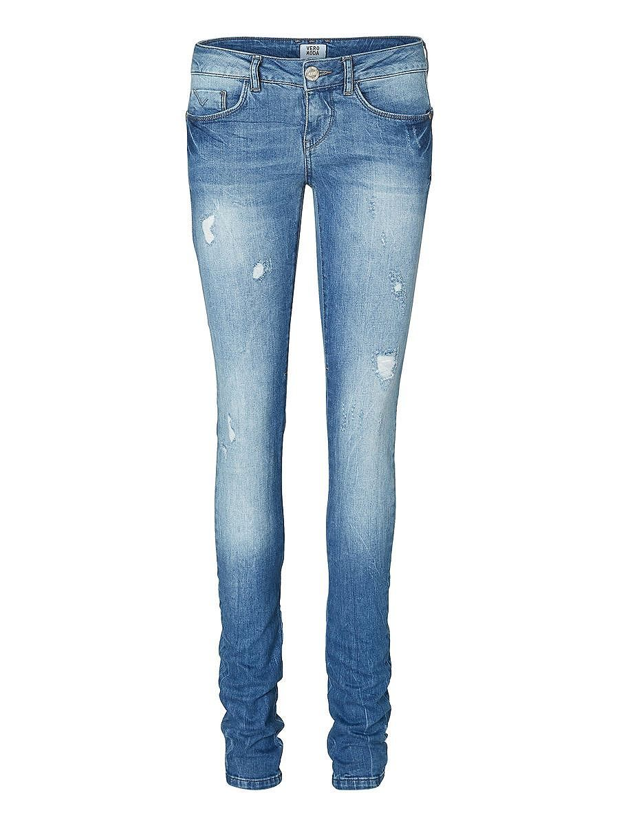 Vero Moda - Dehnbare Jeans. - Lässige Abrasionen. - Low waist. - Taillenbund mit Gürtelschlaufen. - Klassisches 5-Pocket-Modell. - Reißverschluss an den Gesäßtaschen. Hinweis: Die Löcher können sich nach mehreren Waschgängen verändern und die Used-Effekte können zu Löchern werden. 98% Baumwolle, 2% Elasthan...