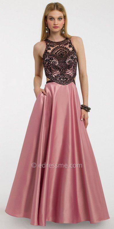 Make picture perfect memories in this two tone satin ball gown prom ...