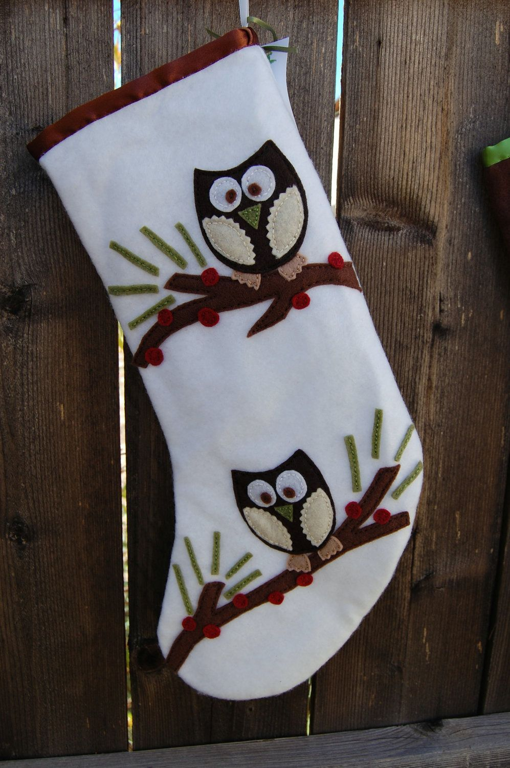 Woodland Owls Felt Stocking Etsy Felt Christmas Stockings Felt Stocking Christmas Stockings