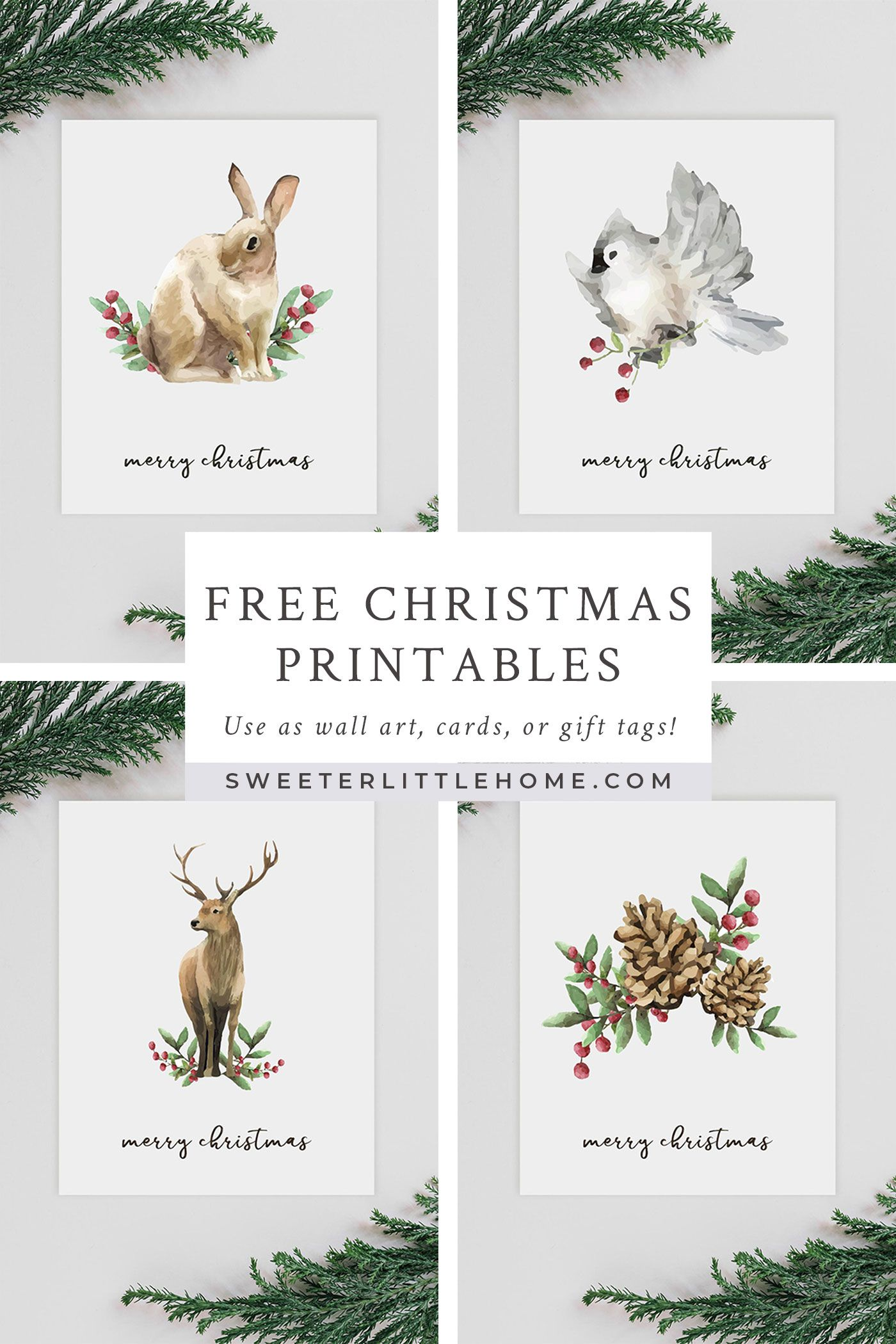Free Christmas Watercolour Animals Printables Free Printable