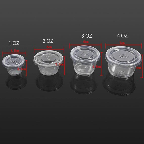 c2778b476fc 50 Packs Clear Plastic Food Slime Containers Cup with Lid Disposable  Transparent Bulk Take Away Roun