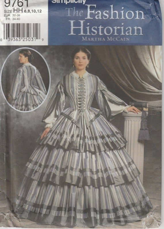 Southern Belle Gown Historical Civil War Era Reenactment Misses Size 6 - 8 - 10 - 12 Uncut Simplicity 9761 #dressesfromthesouthernbelleera
