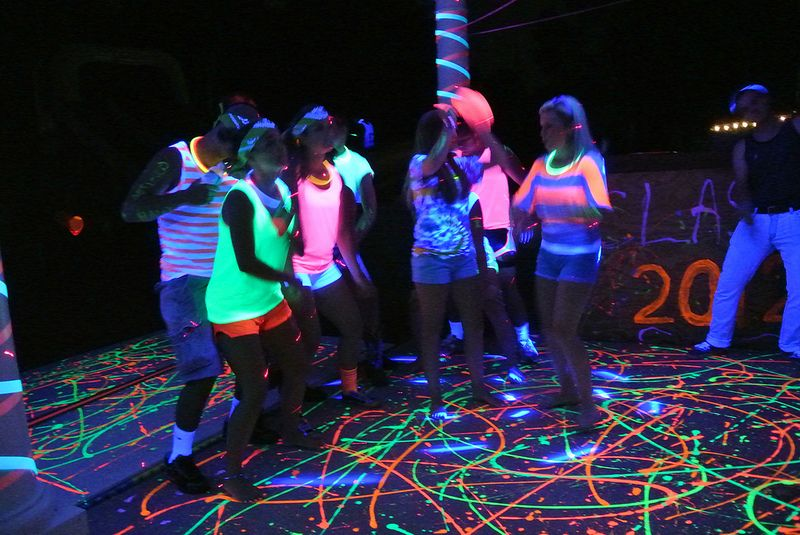 Find and save ideas about Glow party decorations on Pinterest. | See more ideas about Black light party ideas, Blacklight party ideas and Glow party. Outdoor lighting for Backyard or Park Party. Gold balloons with yellow glow stick or led light. Clever way to hang balloons so .