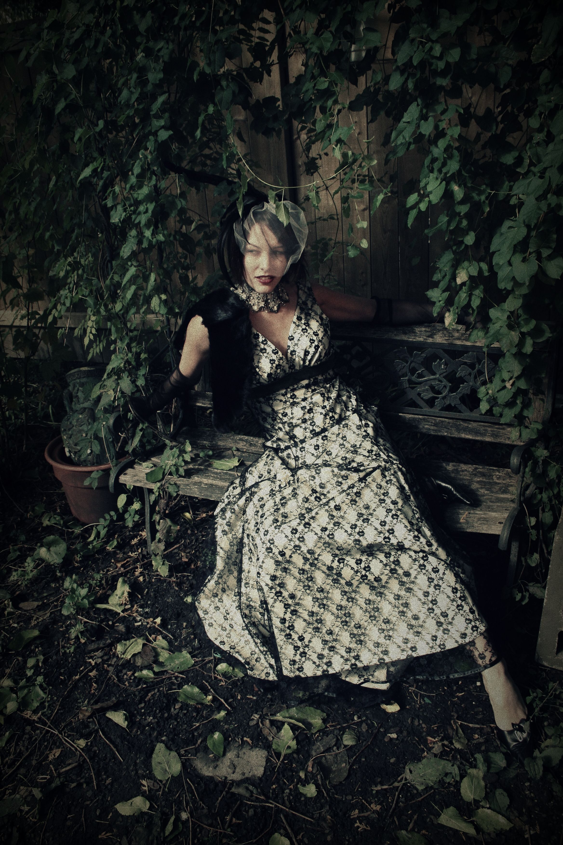 Messy Garden , crumbling grandeur, falling into decay, Jeanie Schlegel-Merrick necklace photography by gina-rae horvath