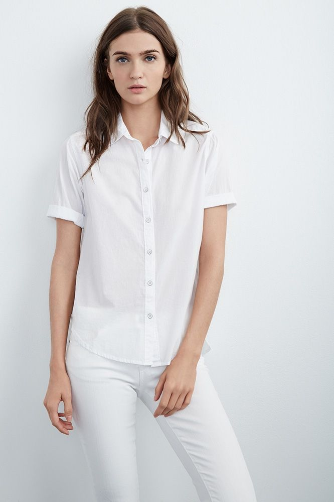 Women S White Short Sleeve Button Up Blouse Breeze Clothing