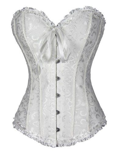 c5150f2d5e8 Camellias Sweetheart Overbust Satin Lace Boned Corset Bustier w. G-string  at Amazon Women s Clothing store