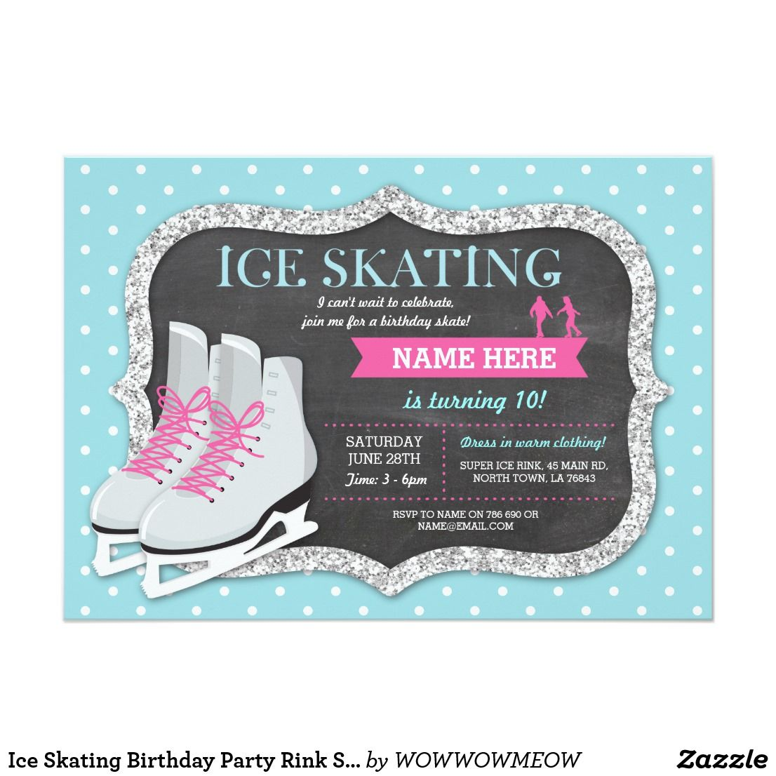 Ice Skating Birthday Party Rink Skate Invite | Skating party and ...