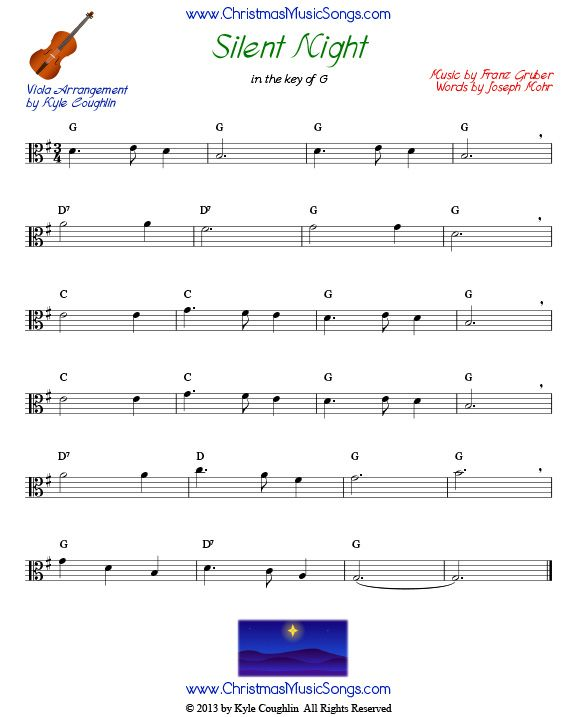 Silent Night for viola, in the key of G | Music | Pinterest