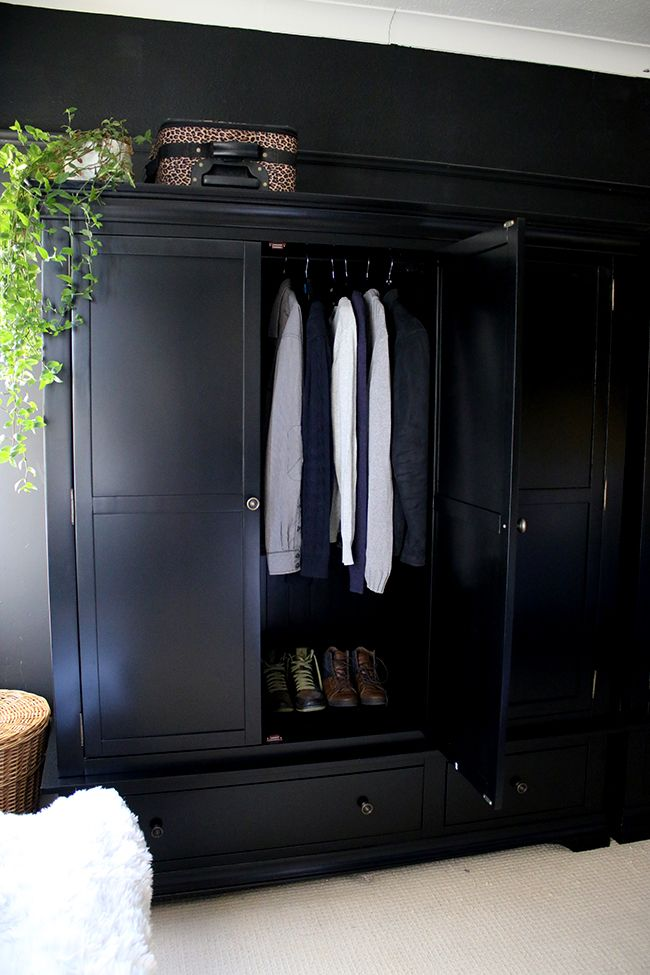 Black Freestanding Wardrobe From Very With Door Open In Black Bedroom See More At Www Swoonworthy Co Uk Bedroom Wardrobe Wardrobe Design Painted Wardrobe