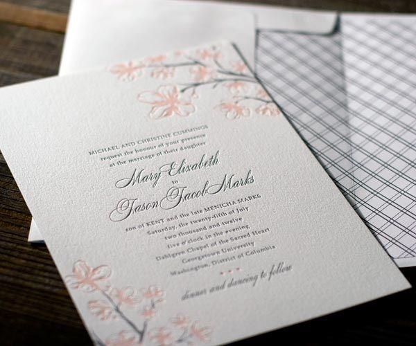 Bella Figura Cherry Blossom Letterpress Wedding Invitations 500x416  Inspiration: Cherry Blossoms