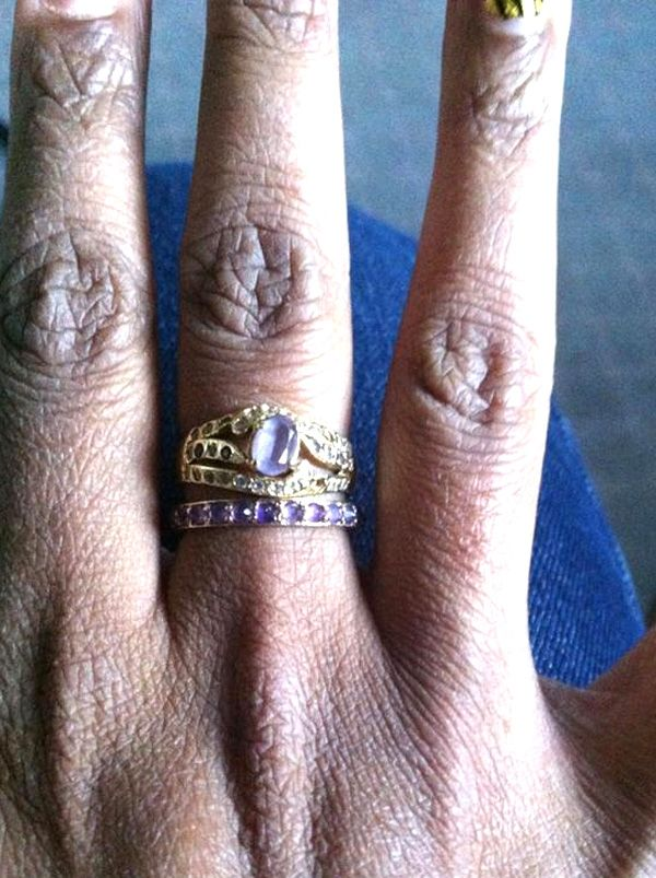 A Twitter follower with jewellery styling talent. Katie Rowland Salome Amethyst Half Eternity Ring and her mother's vinatge amethyst ring. We're slightly envious!  Share your #ringstack with us.  #AstleyClarke #GoPreciousEveryday #Jewellery