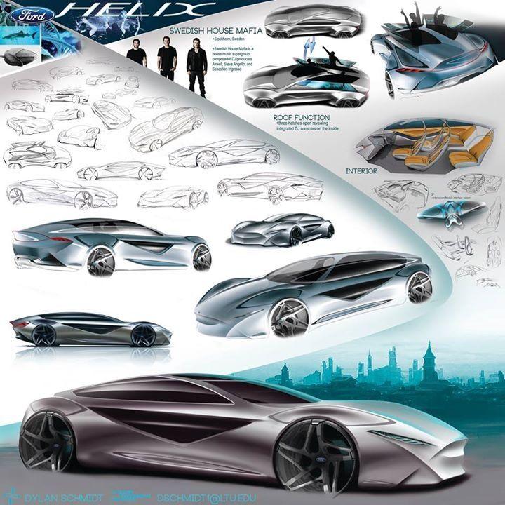Ford Helix Dylan Schmidt Freshman Transportation Design Project Sketch Rendering Design Cars Swedish H Car Design Sketch Concept Cars Car Sketch