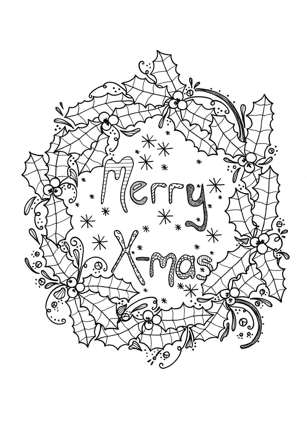 Merry Xmas Wreath Adult Coloring Page Coloring pages