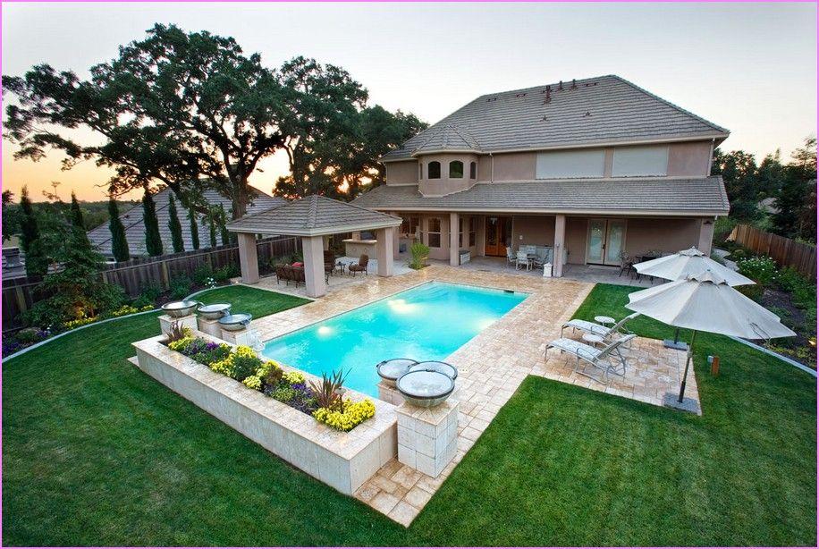 rectangular swimming pool landscape