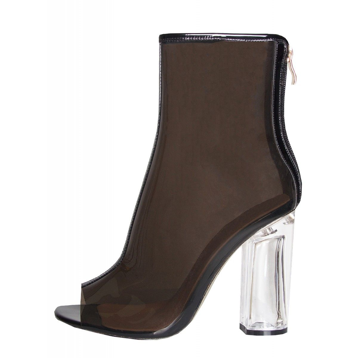 Melissa Black Peep Toe Perspex Heel Ankle Boots : Simmi Shoes - Love Your Shoes!