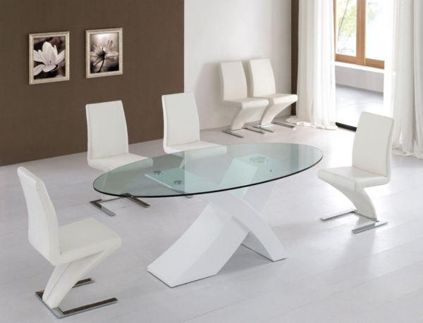Moderne Esszimmermöbel Ideen weiß glasplatte Salas de reunião