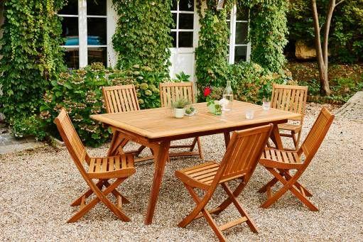 Salon de jardin LOMBOK - table extensible ronde en teck - 6 places