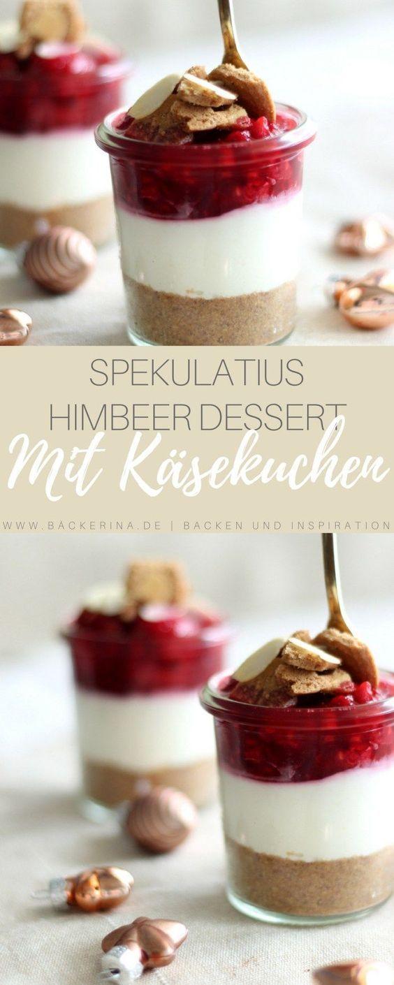 No bake Cheesecake im Glas - Spekulatius & Himbeer #spekulatiuskuchen