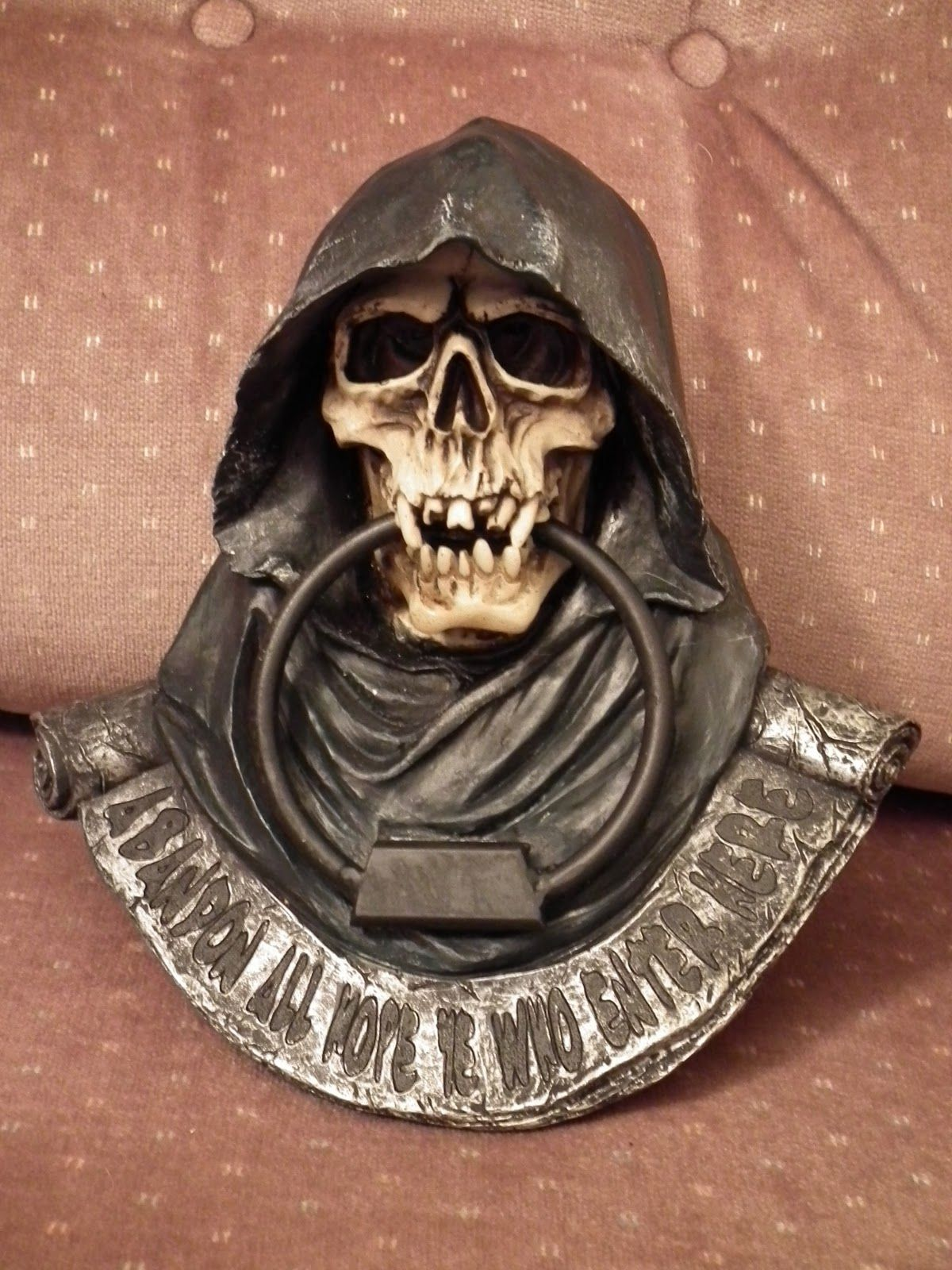 Grim reaper door knocker i 39 m planning on hanging it on my office door the caption says - Cool door knocker ...