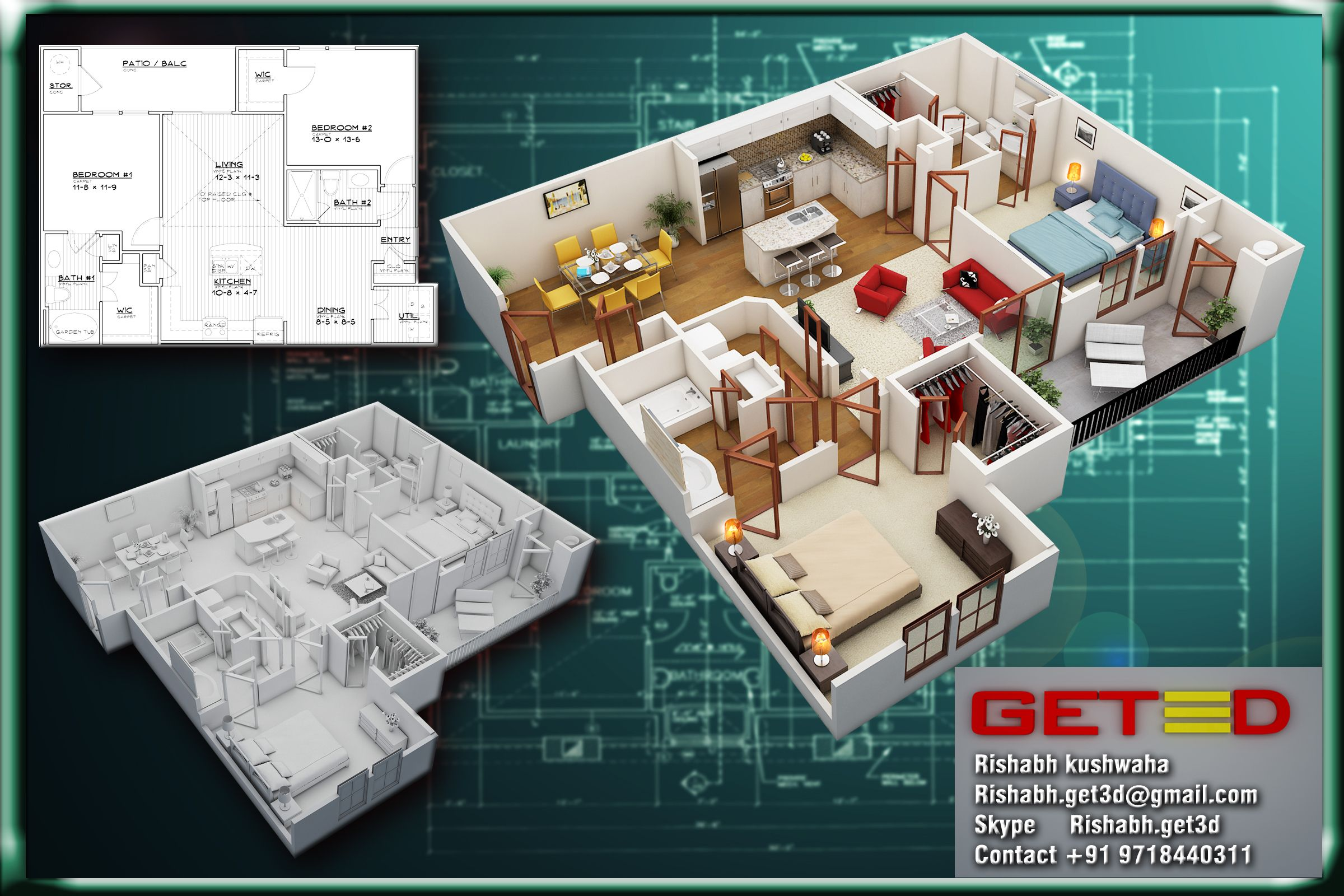 3d floor plan on the basis of 2d layout. | Floor plans, How ... on