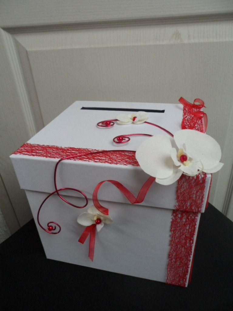 Urne pour mariage rouge et blanche avec orchid e autres for Accessoire deco rouge