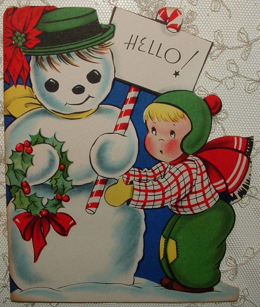 Unused little boy w snowman 1940s vintage christmas greeting unused little boy w snowman 1940s vintage christmas greeting card kristyandbryce Choice Image