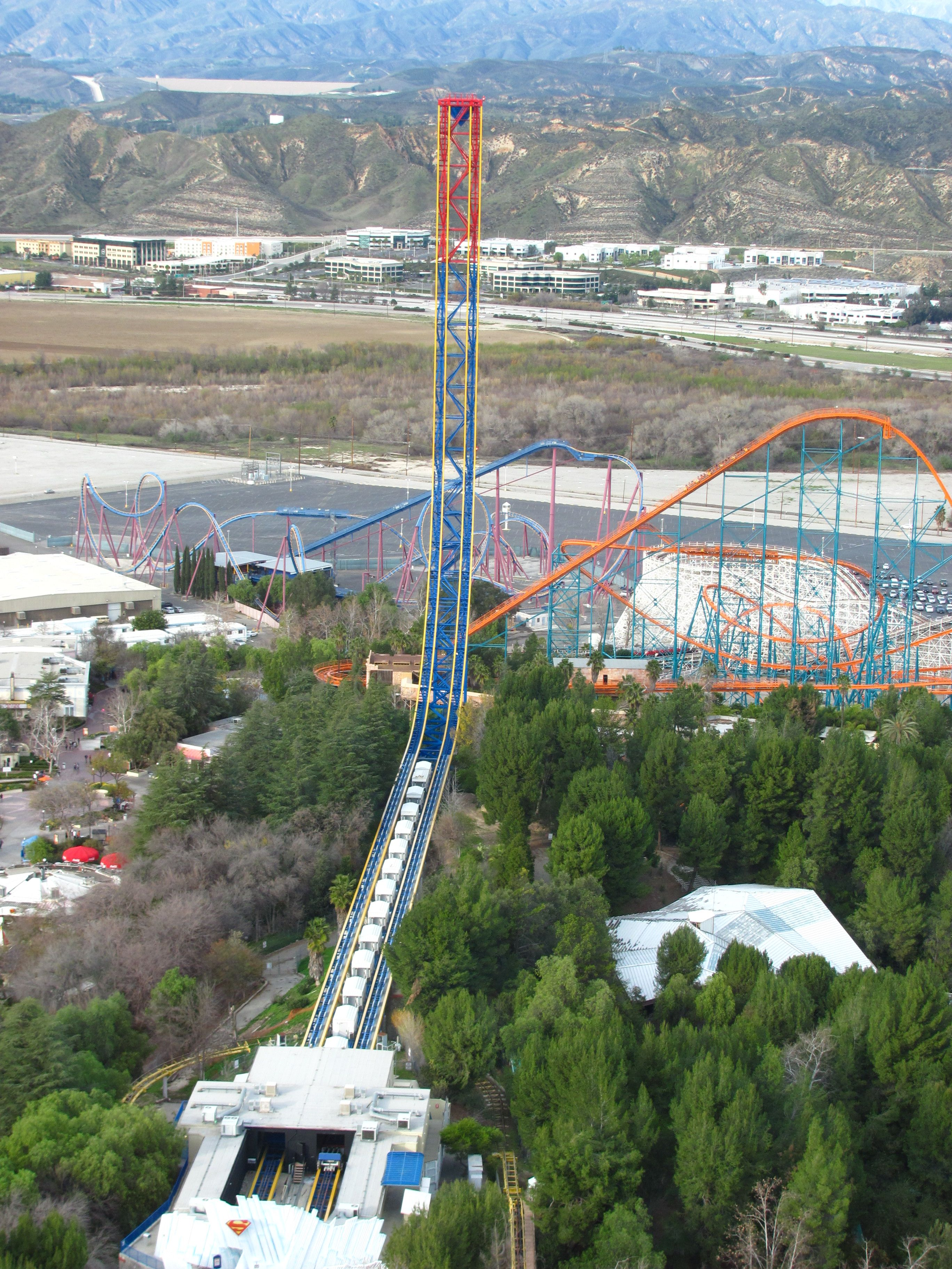 Superman Escape From Krypton Six Flags Magic Mountain Aerial View 2736 3648 Best Roller Coasters Theme Parks Rides Roller Coaster