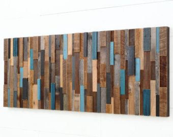Wall Art Large wall art - modern reclaimed barnwood art wall sculpture in
